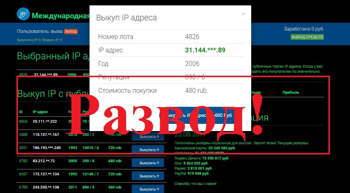 Фальшивая Международная Система Контроля IP Адресов. Ревизор онлайн - отзывы о проекте