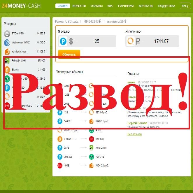 Автоматический обмен валют не в вашу пользу. Отзывы о 24Money-Cash
