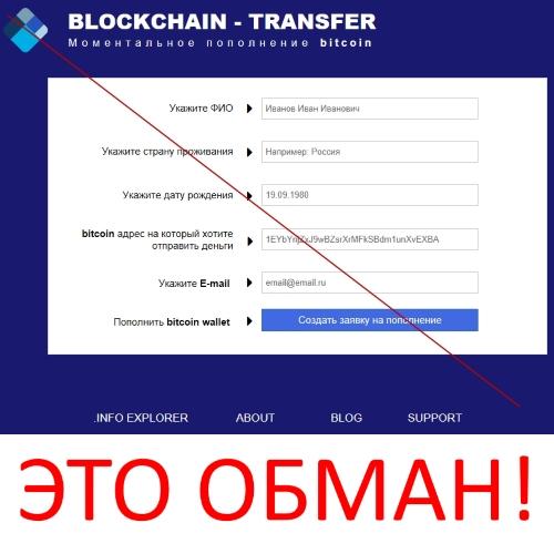 Моментальное пополнение Биткоина BLOCKCHAIN – TRANSFER. Отзывы