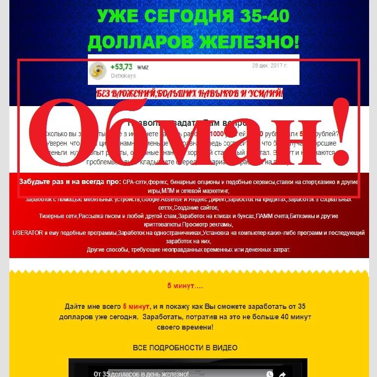 «35-40 ДОЛЛАРОВ ЖЕЛЕЗНО» от Дмитрия Алемасова. Отзывы о denejnaynisha.ru