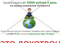 Cash Pays – зарабатывайте от 30 000 рублей в день на вашем домашнем интернете. Отзывы