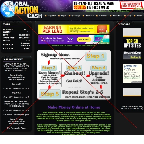 Global Action Cash – отзывы о площадке для заработка денег в интернете