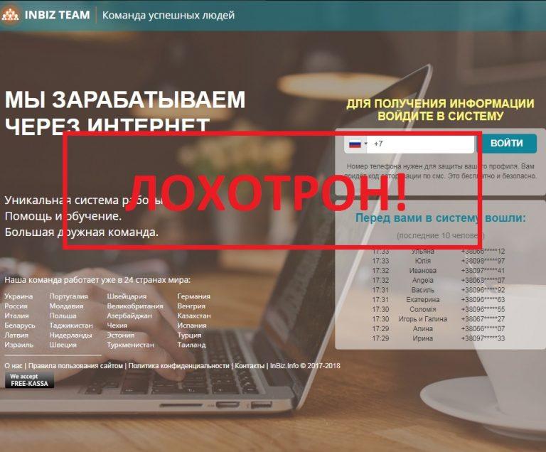 Сетевой маркетинг от компании INBIZ TEAM. Отзывы о проекте