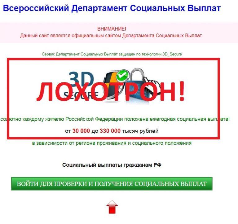Всероссийский департамент социальных выплат — отзывы о проекте