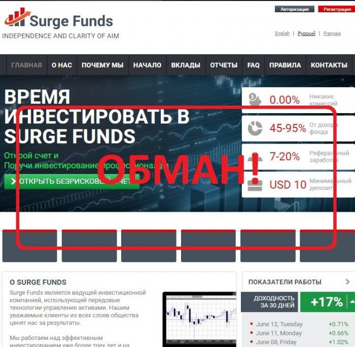 Surge Funds — низкопроцентный хайп. Отзывы о сомнительном проекте