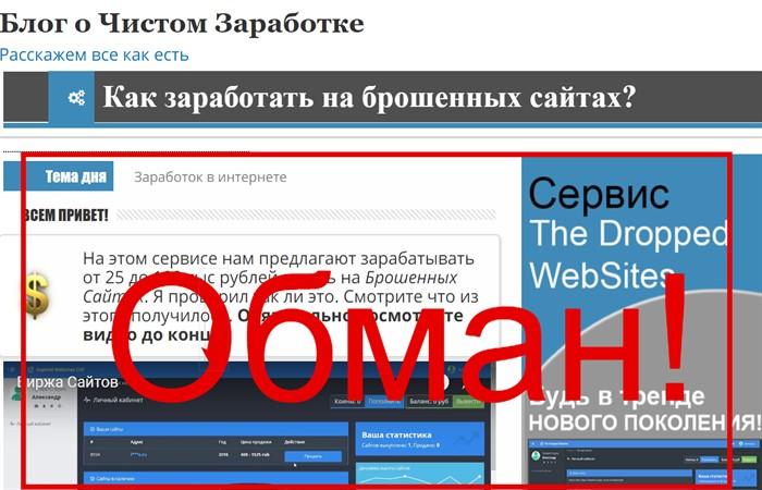 Блог о Чистом Заработке от Александра Громова и его сервис The Dropped Websites отзывы
