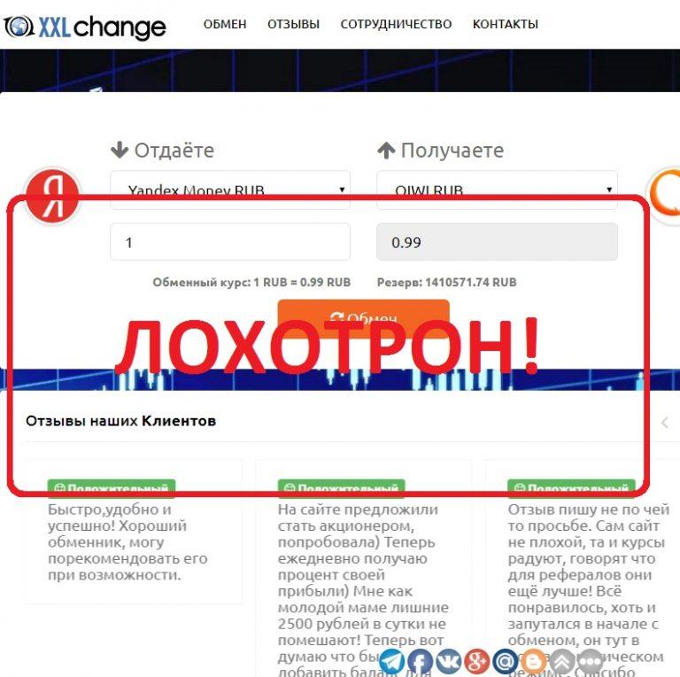 Сервис обмена валют. Отзывы о XXLchange