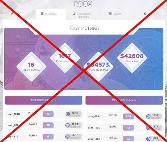 Rooxi.biz - высокодоходные инвестиции от ROOXI, отзывы