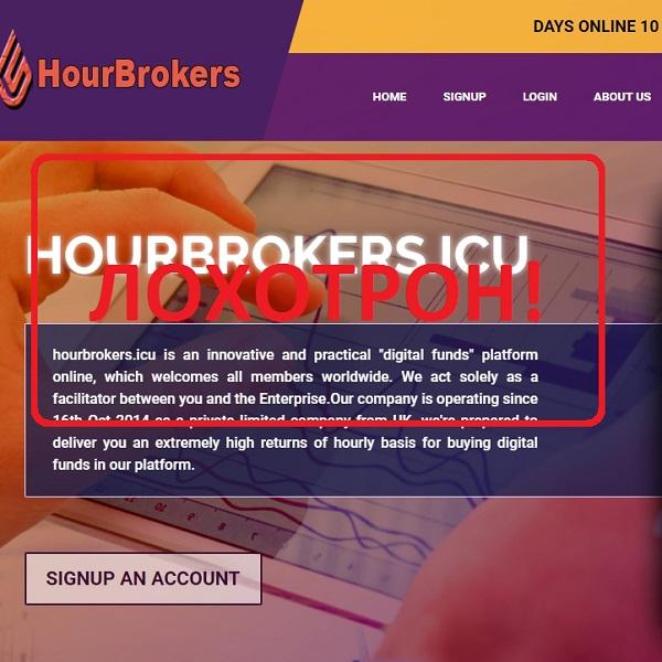 Обзор и отзывы об hourbrokers.icu