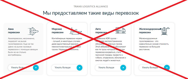 Trans logistics alliance виды грузоперевозок