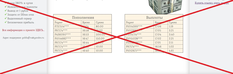 Сайт для заработка денег goldiaff.ru - реальные отзывы