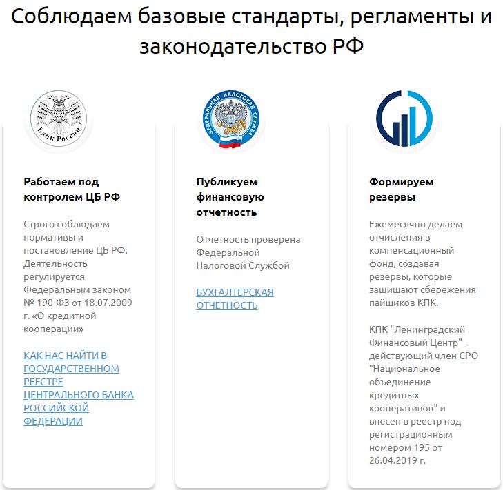 КПК ЛФЦ отзывы и соблюдение законов