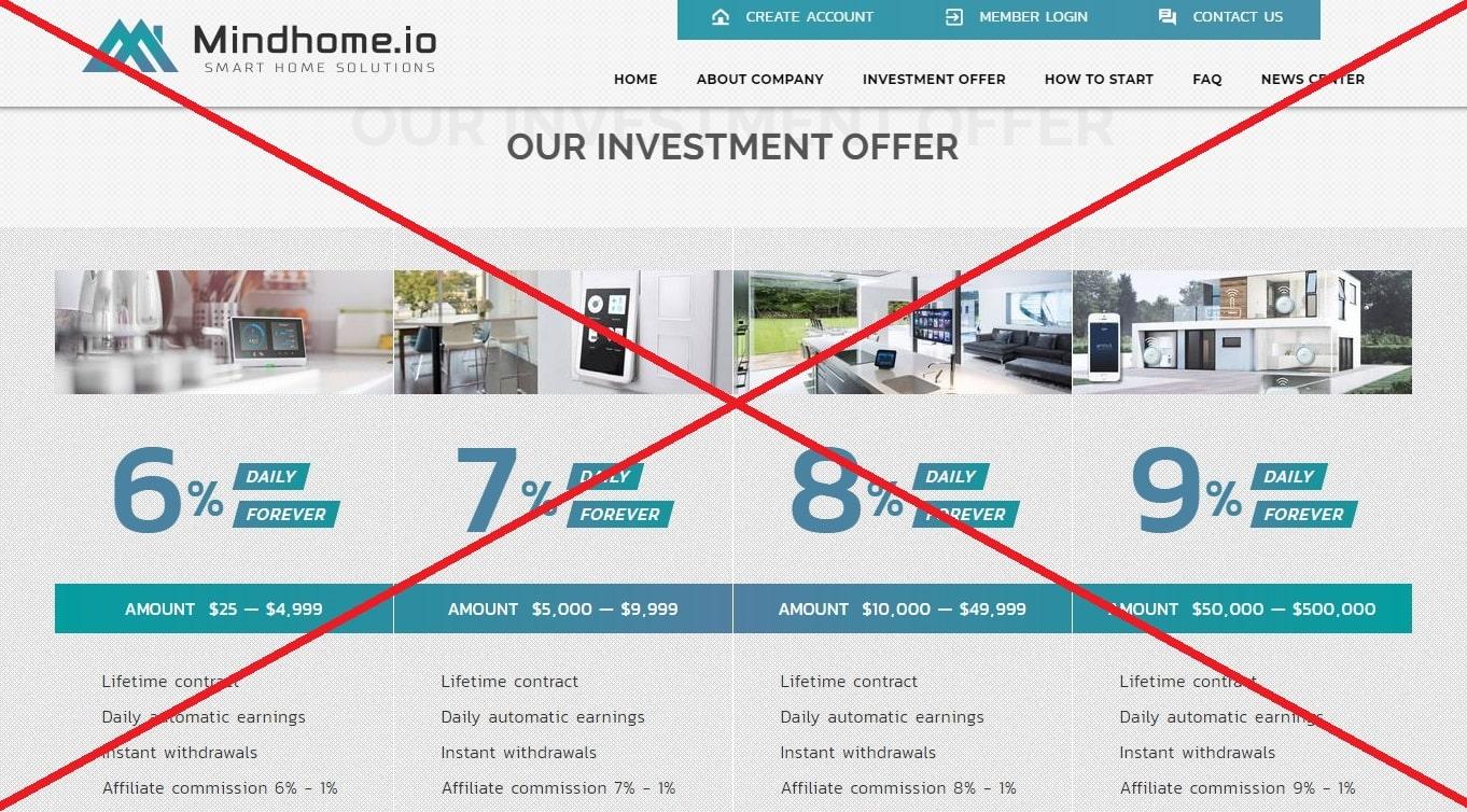 Mindhome - отзывы о мошенниках mindhome.io