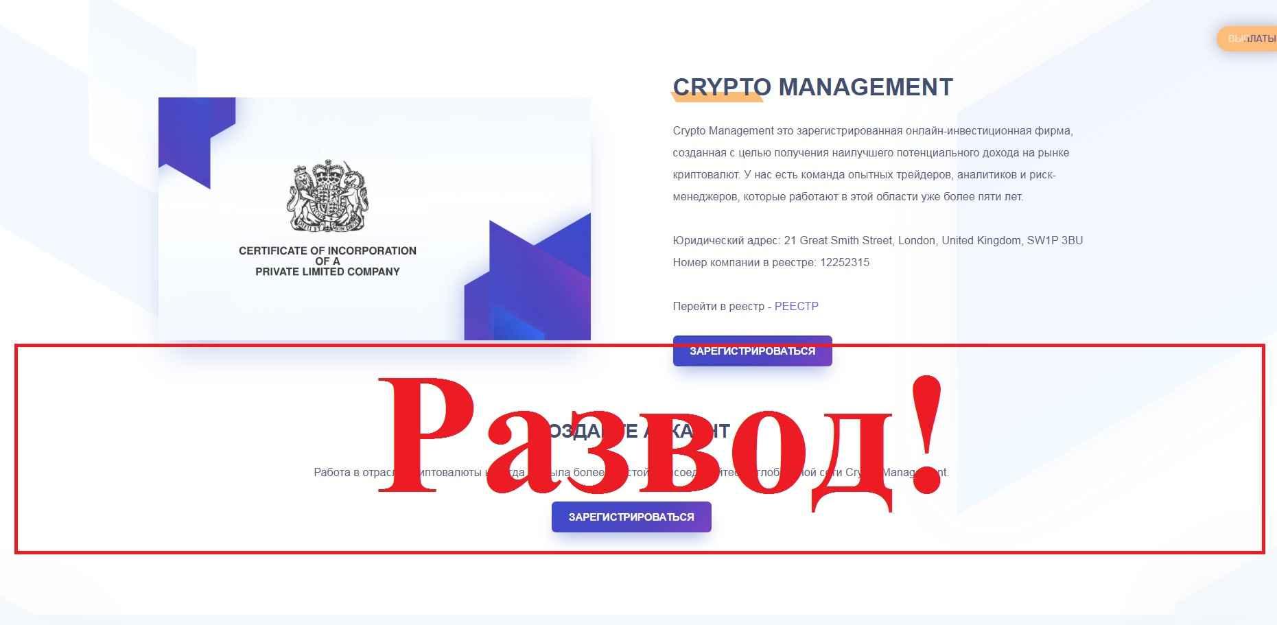 Crypto Management Business – отзывы и проверка