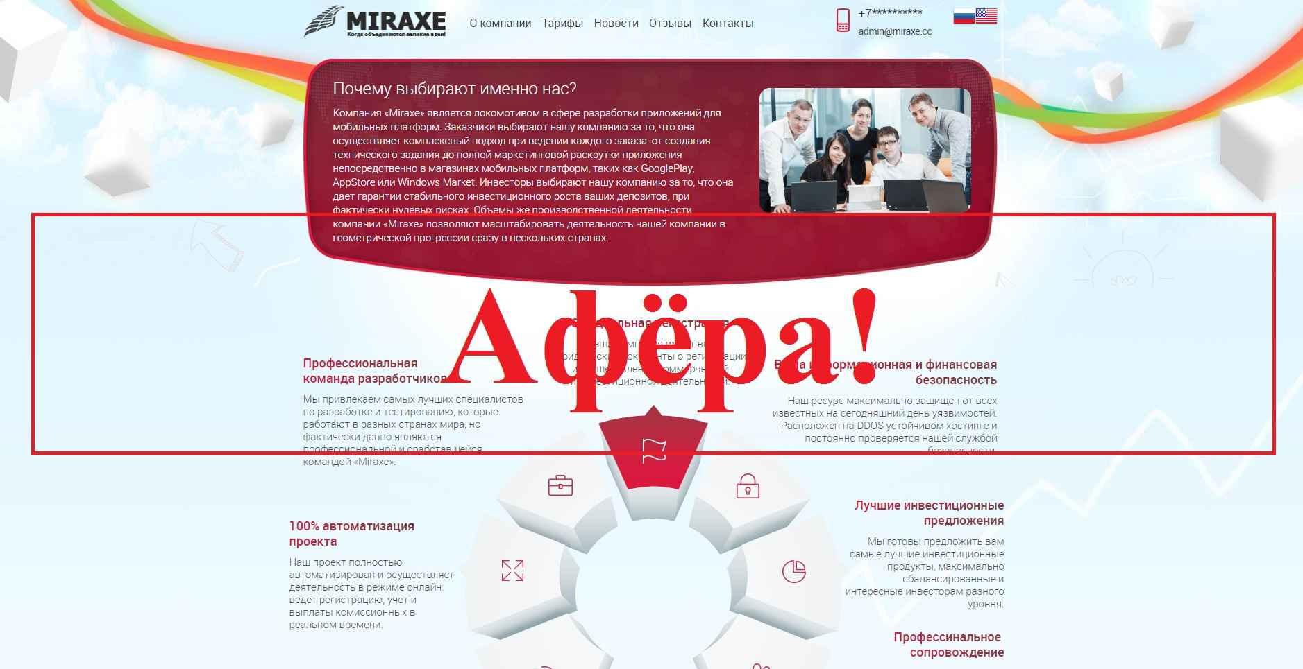 Miraxe – отзывы. Инвестиции в miraxe.cc