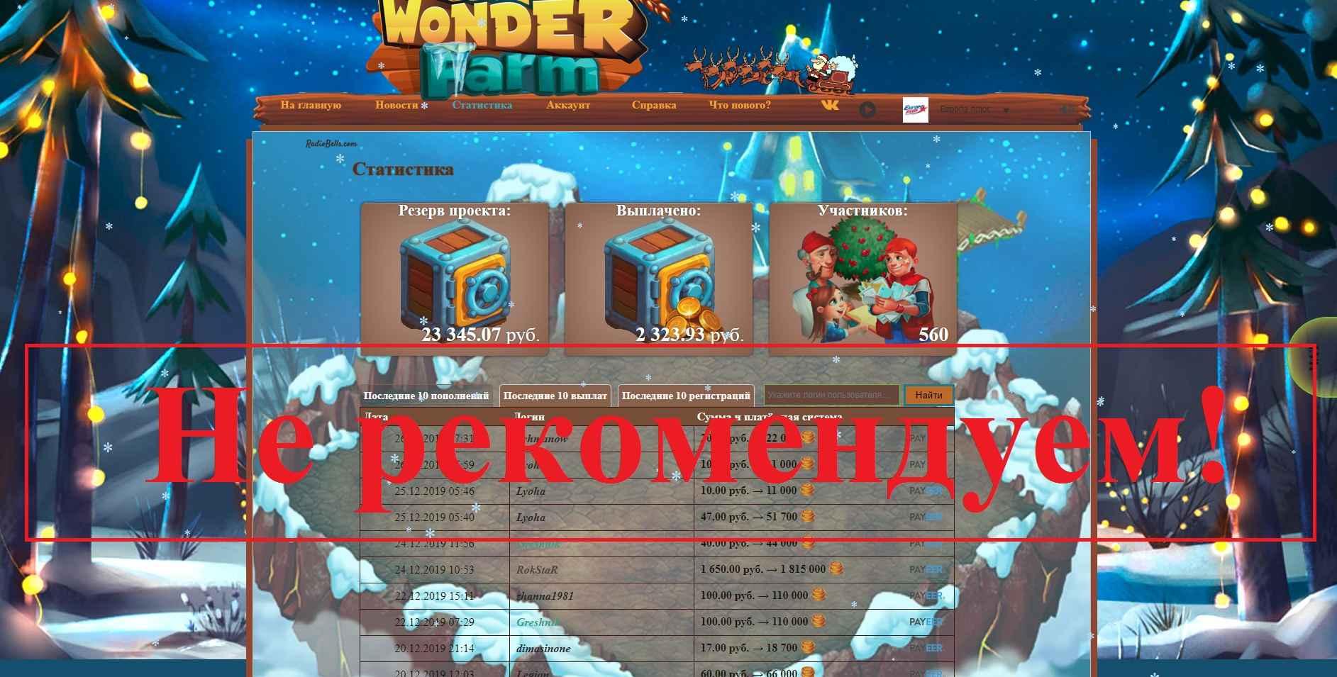 Wonder-Farm – экономическая игра с выводом денег. Отзывы о wonder-farm.biz