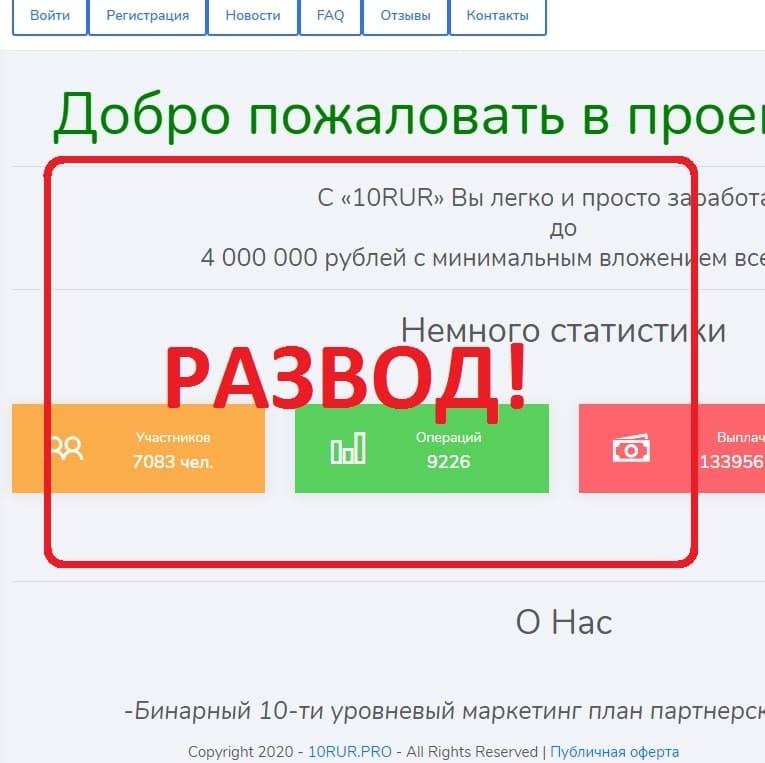 10RUR — бинарный маркетинг. Отзывы о 10rur.pro