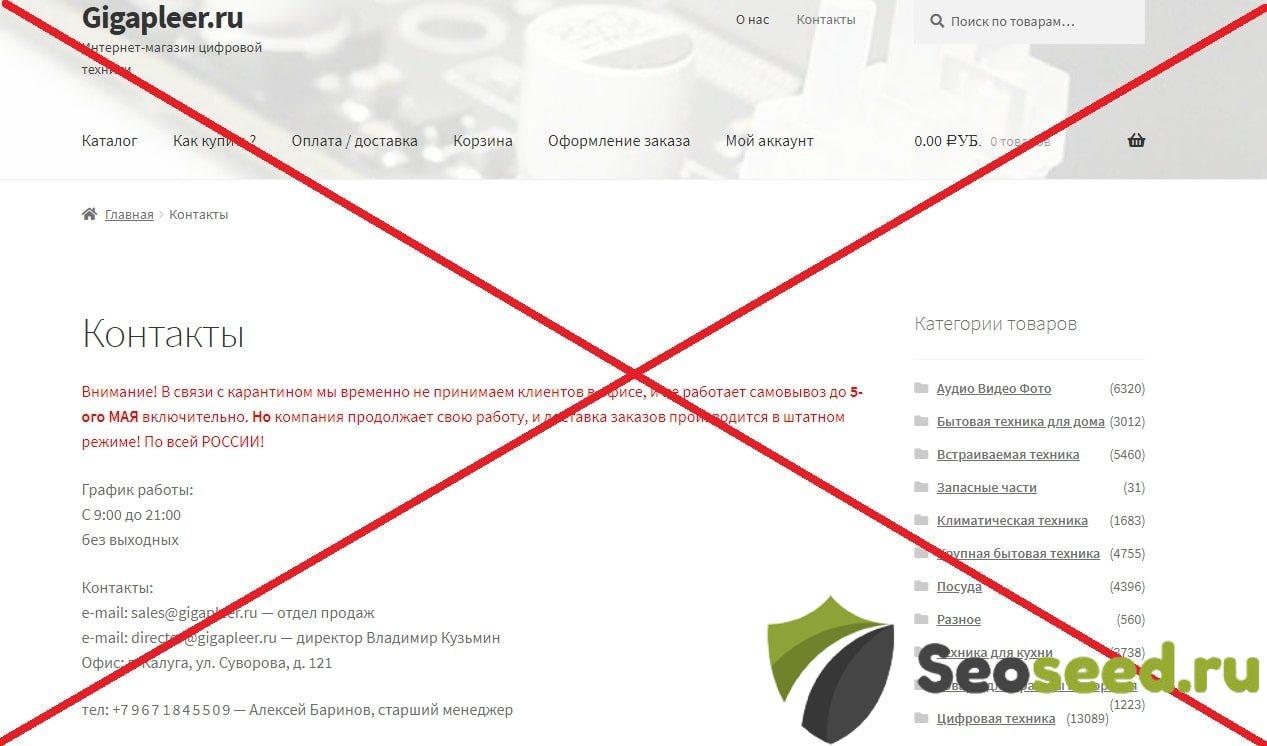 Отзывы о Gigapleer.ru - интернет магазин цифровой техники