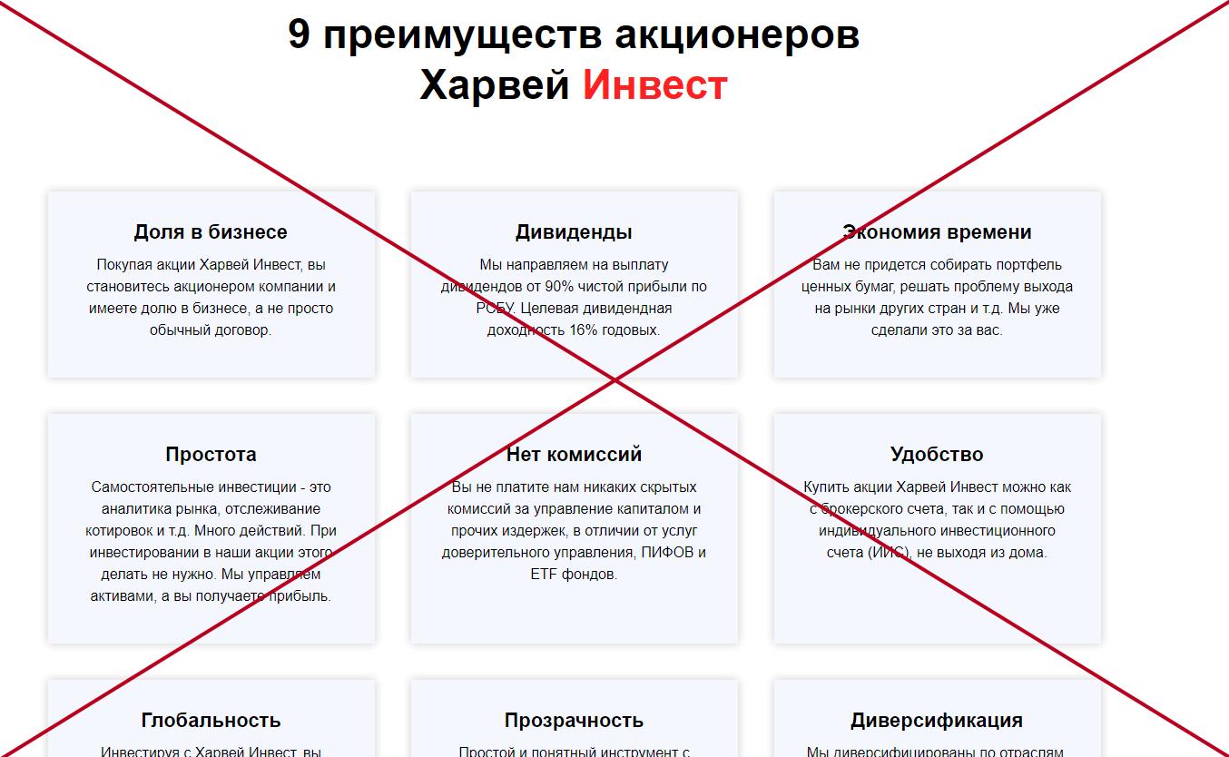АО Харвей Инвест обман