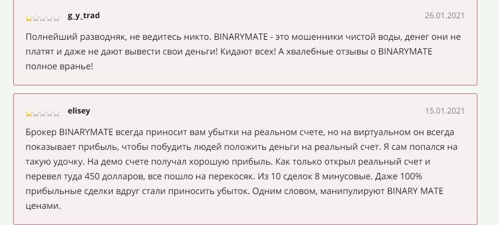 Binarymate - 15 отзывов и жалобы 2021 года
